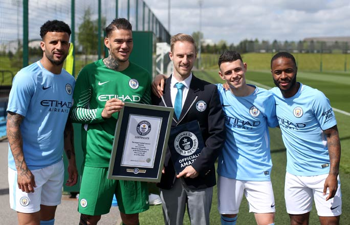 From left to right: Kyle Walker, Ederson, Adjudicator Adam, Phil Foden and Raheem Sterling
