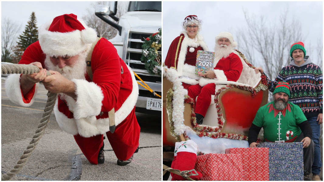 split image of kevin fast pulling sleigh and sitting in it with his family