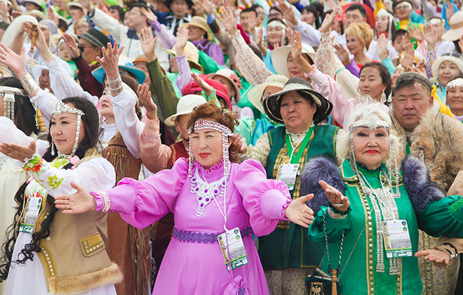 Largest gathering of people wearing traditional Yakut clothing